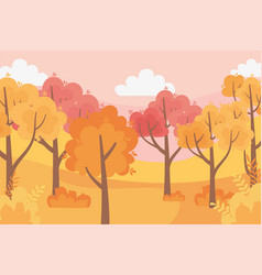 leaves forest autumn panorama nature trees sky vector image