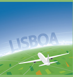 Lisbon flight destination vector