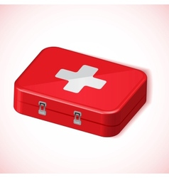 Medical box red health kit icon vector image