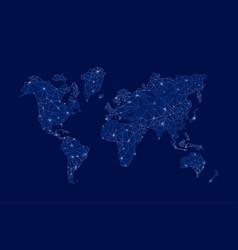 modern digital world map technolgoy concept design vector image