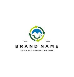 Mountain arrow circle recycling logo design vector