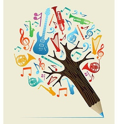 Musical studies concept pencil tree vector