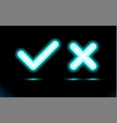 Neon set blue lamp checkmark and crosshair icon vector