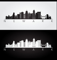 newark usa skyline and landmarks silhouette black vector image