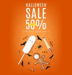 orange flyer with treats for halloween sale vector image