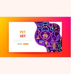 Pet vet neon landing page vector