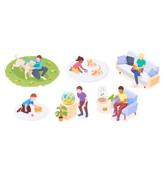 pets and owners play or care daily life isometric vector image