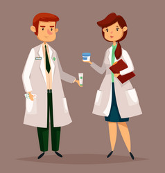 pharmacist and woman druggist with pills tablets vector image