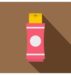 Pink tube of cream or gel icon flat style vector