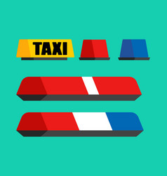 police taxi and ambulance car flasher set car vector image