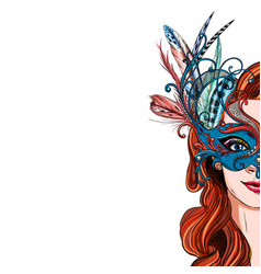 portrait pretty woman in luxury carnival mask vector image