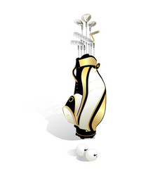 Realistic golf bag and clubs isolated on white vector
