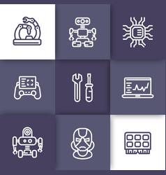 Robotics mechanical engineering icons linear vector