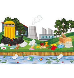 Rubbish in outdoor factory scene vector