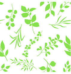 seamless pattern sprigs with green leaves vector image