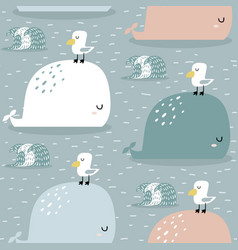 Seamless pattern with whale and gull childish vector