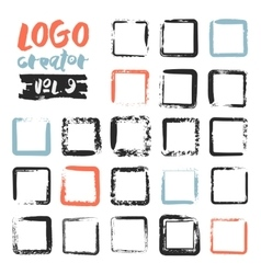 Set of 21 unique ink sketched shapes vector