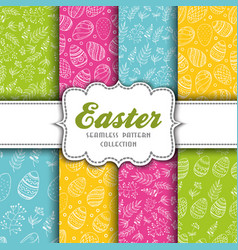 set of seamless easter patterns with eggs and vector image