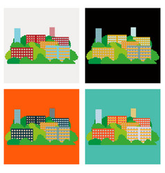Set of smart city with contemporary buildings vector