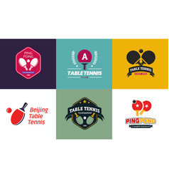 set vintage color table tennis logos and badges vector image