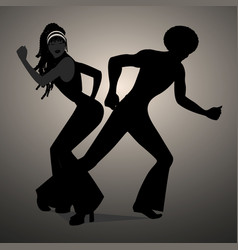 Silhouettes of couple dancing soul funky or disco vector