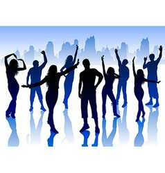 Silhouettes of People Dancing in the City vector image