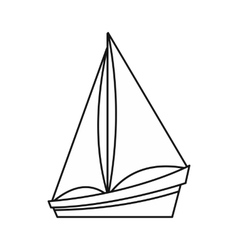 Small yacht icon outline style vector image