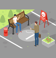 Smoking area isometric vector