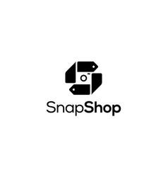 Snap shop logo design concept vector