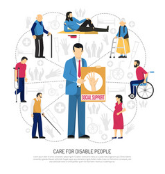 Social support for disabled people composition vector