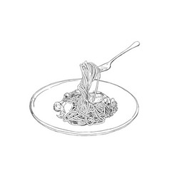 spaghetti hand drawn sketch vector image