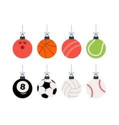 sport christmas balls set christmas set vector image