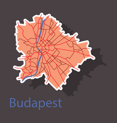 Sticker scheme of the budapest hungary city plan vector