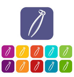 Tooth dentist forceps icons set flat vector