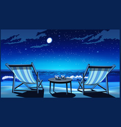 Two chaise lounges on the beach at night vector
