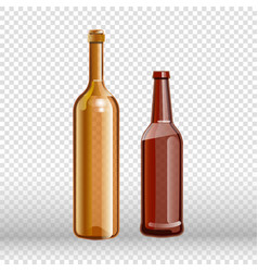 two empty bottles wine and beer isolated on vector image