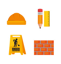 Under construction icon set vector