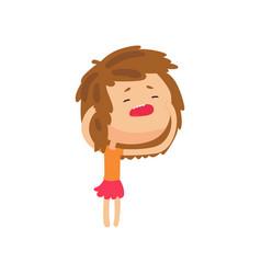 unhappy girl suffering from headache cartoon vector image