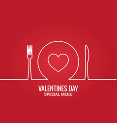 Valentines day menu fork and knife with plate vector