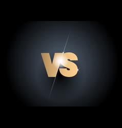 versus sign gold 3d symbol vector image