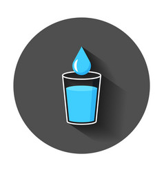 water glass icon in flat style soda glass with vector image