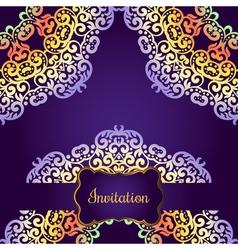 Wedding invitation delicate swirl mandala pattern vector