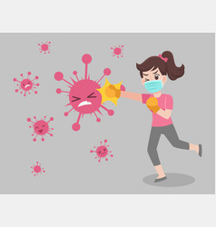 Woman fight punch virus wearing a mask vector
