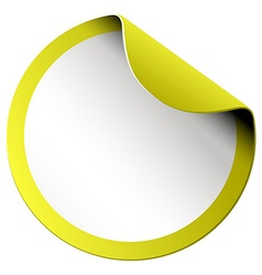 Yellow round sticker on white vector image