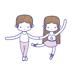 colorful couple practice ballet with professional vector image