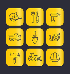 construction tools line icons set trowel wrench vector image vector image
