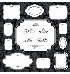 damask frame set vector image vector image