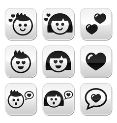 Man and woman in love Valentines buttons set vector image vector image
