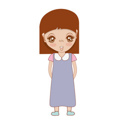 pretty girl with hairstyle and dress vector image