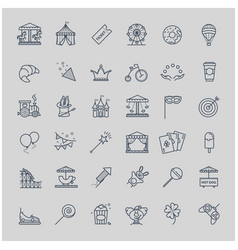 thin line set - amusement park icons vector image